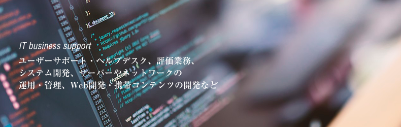ユーザーサポート・ヘルプデスク、評価業務、システム開発、サーバーやネットワークの運用・管理、Web開発・携帯コンテンツの開発など